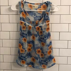 Hollister Floral Hawaiian Tank Top Sheer Small